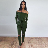 Jumpsuits For Women Sexy 2016 Summer New Arrival High Street Style Elegant Long Sleeve Slash Neck