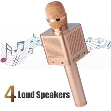 Q10S Multi-functional Professional Handheld Removeable Battery Microphone TF-Card-Insert Karaoke Player With 4 Speakers