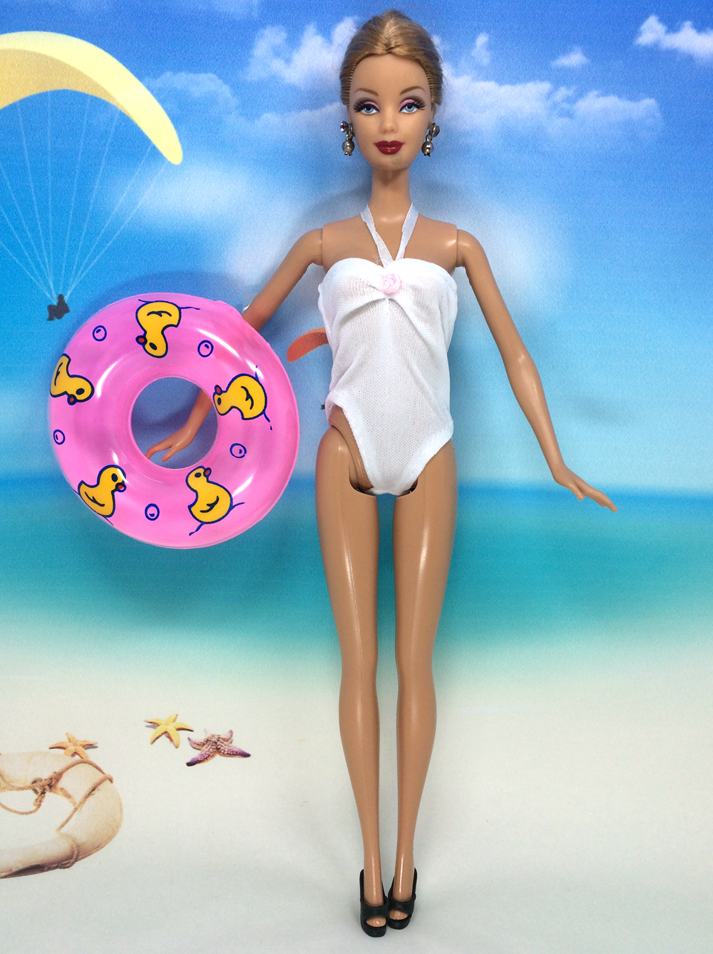 NK Doll Swimsuit+Slippers+Swimming Buoy Lifebelt Ring For Barbie Doll Woman Present 030C