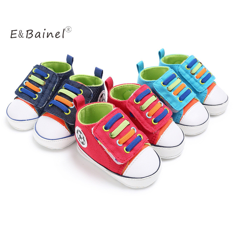 E&Bainel Newborn Baby Boys Shoes For Kids Rainbow Lace-up Demin Football Print Baby Moccasins For Boys Sport Shoes