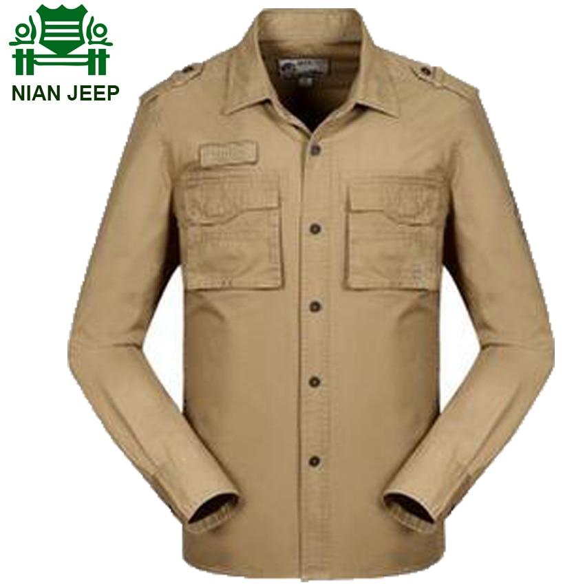 Nian jeep brand mens long sleeve casual shirt military for Mens military style long sleeve shirts