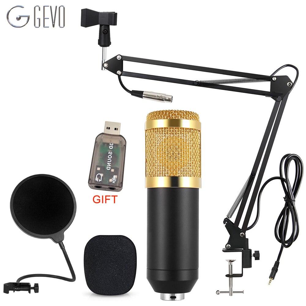 GEVO BM 800 micrófono para Karaoke Pc Wired estudio micrófono de condensador con trípode y NB-35 brazo de suspensión Pop filtro