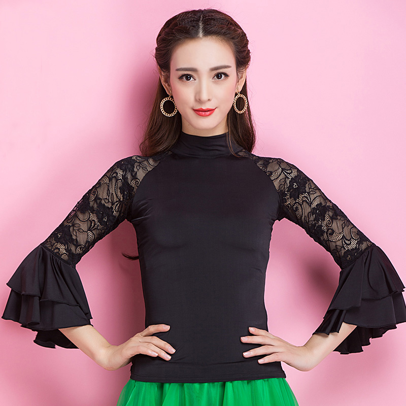 Image 4 - Fashion Modern lace long sleeve Latin Dance clothes top for women/female/girl, Tango Samba Ballroom Costume performance wearclothes for women 2013top brand for womenclothes for skinny women -