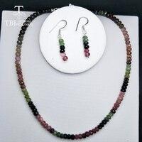 TBJ, 100% натуральный необычный Цвет драгоценный камень турмалин neacklace с 925 серебряной застежкой, роскошный большой размер ожерелье с коробкой