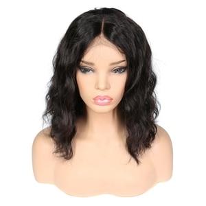 Image 2 - Parrucche corte Bob per donna parrucca frontale in pizzo ondulato radici nere Remy parrucche brasiliane anteriori in pizzo parrucche ondulate naturali 130%