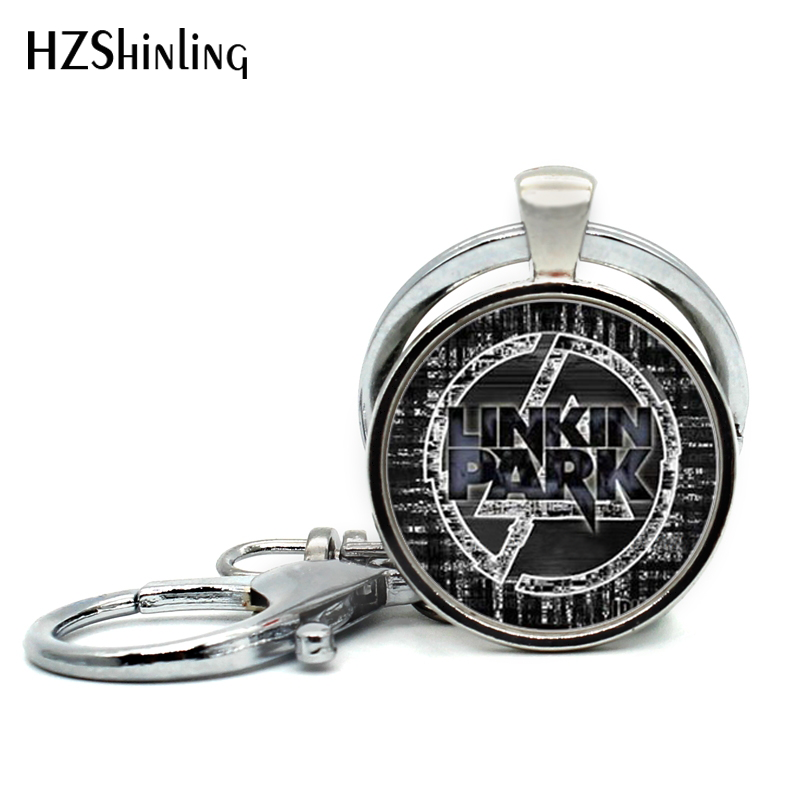 New Arrival Linkin Park Keychains Linkin Park Logo Jewelry Glass Dome Pendant Keyring for Men and Women Party Gift