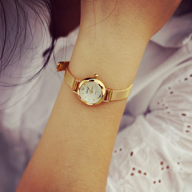 Luxury Fashion Gold Women Quartz Watches Top Brand Small Dial Female Bracelet Watch Stainless Steel Mesh Strap Ladies Writwatch