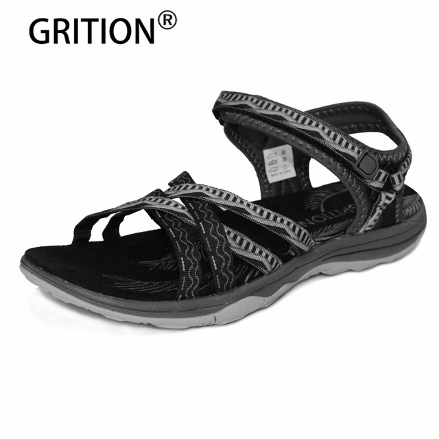 beb3bbc0a GRITION Women Flat Sandals Girls Summer Outdoor Shoes Sport Open Toe Black  Sandals Black Gray Pink Sand Zapatos Mujer