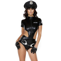 Sexy Vinyl Leather Women Police Costume Female Cop Handcuffs Holloween Cosplay Costume Role Play Cops Cosplay Clothing
