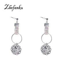 Circle Flower Drop Earrings Crystal Jewelry Fashion Temperament Women Bride Earrings Wholesale New Korean Long Earrings