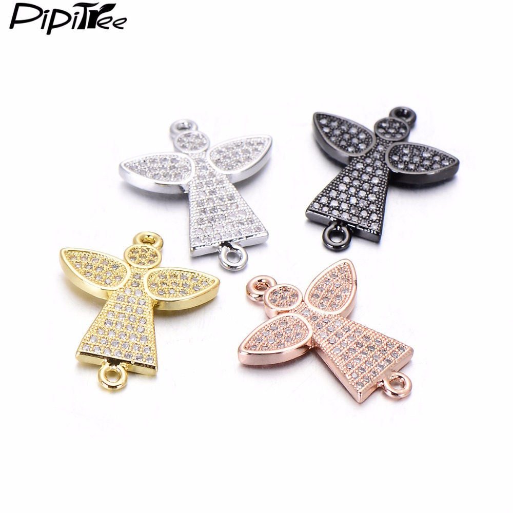 Pipitree 3pcs/lot Wholesale CZ Zircon Angel Charms Copper DIY Beads for Jewelry Making Bracelet Jewelry Charms 20x25mm