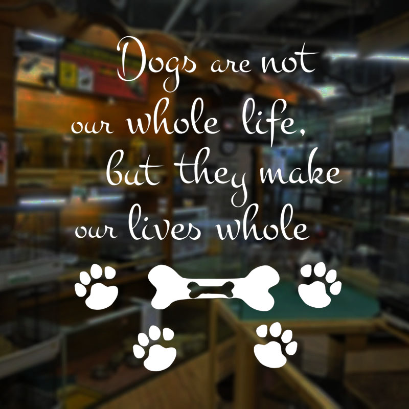 Dogs Are Not Our Whole Life Quotes Wall Stickers Vinyl Footprint Home Decor Murals Pet Shop Window Decals Grooming Salon A250