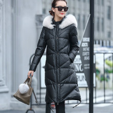 Ptslan Fox Fur Duck Down Jackets Women Long Winter New Exceed Soft Leather Coat Thickening Sheep Skin