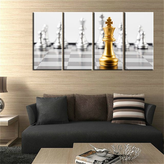 Golden Fashion Checkers Modular Chess Picture Painting Print On