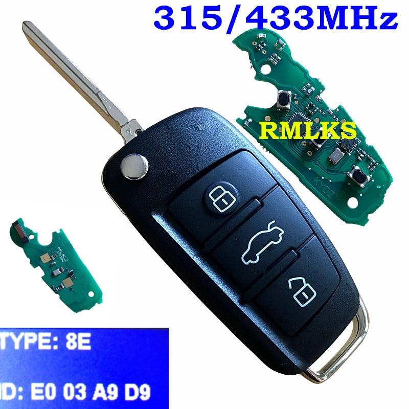 3 Button Folding Flip Remote Smart Key 315Mhz 8E Chip for Audi A6L 8E0 837 220Q