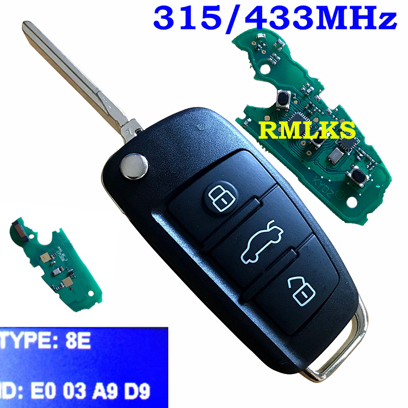 3 bouton pliant Flip télécommande porte-clés 433 mhz spécial 8E puce pour Audi Q7 8E0 837 220R 315 Mhz pour A6L 8E0837220Q