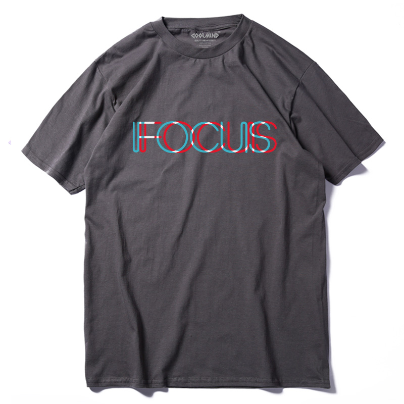 COOLMIND QI0231A casual loose summer   T     shirt   for men tops tees 100% cotton short sleeve fucus printed funny men Tshirt
