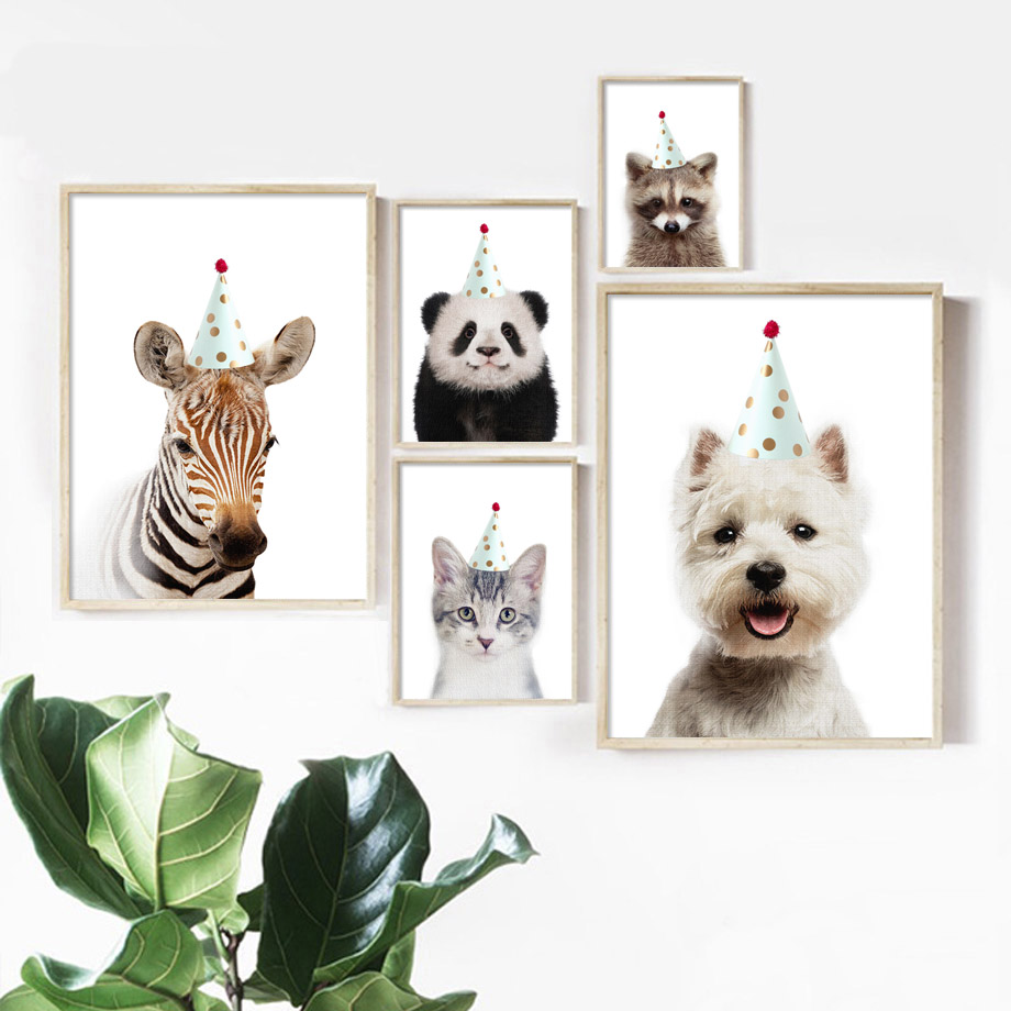 Birthday Hat Zebra Panda Dog Cat Raccoon Wall Art Canvas Painting Nordic Posters And Prints Animal Wall Pictures Kids Room Decor in Painting Calligraphy from Home Garden