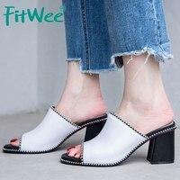 FITWEE Women Genuine Leather Square Heels Sandals Women Rivets Slip On High Heels Peep Toe Shoes Women Slippers Size 34 39