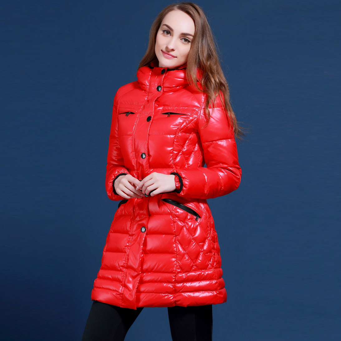 European brand snowimage Simple and stylish thick down jacket and long sections Hooded Russian students duck