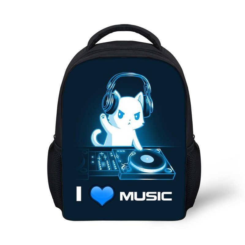 Mochilas Kawaii DJ Cat con impresión Dropshipping, minimochilas Escolares para niños y niñas, suministros Escolares, Outlet de fábrica