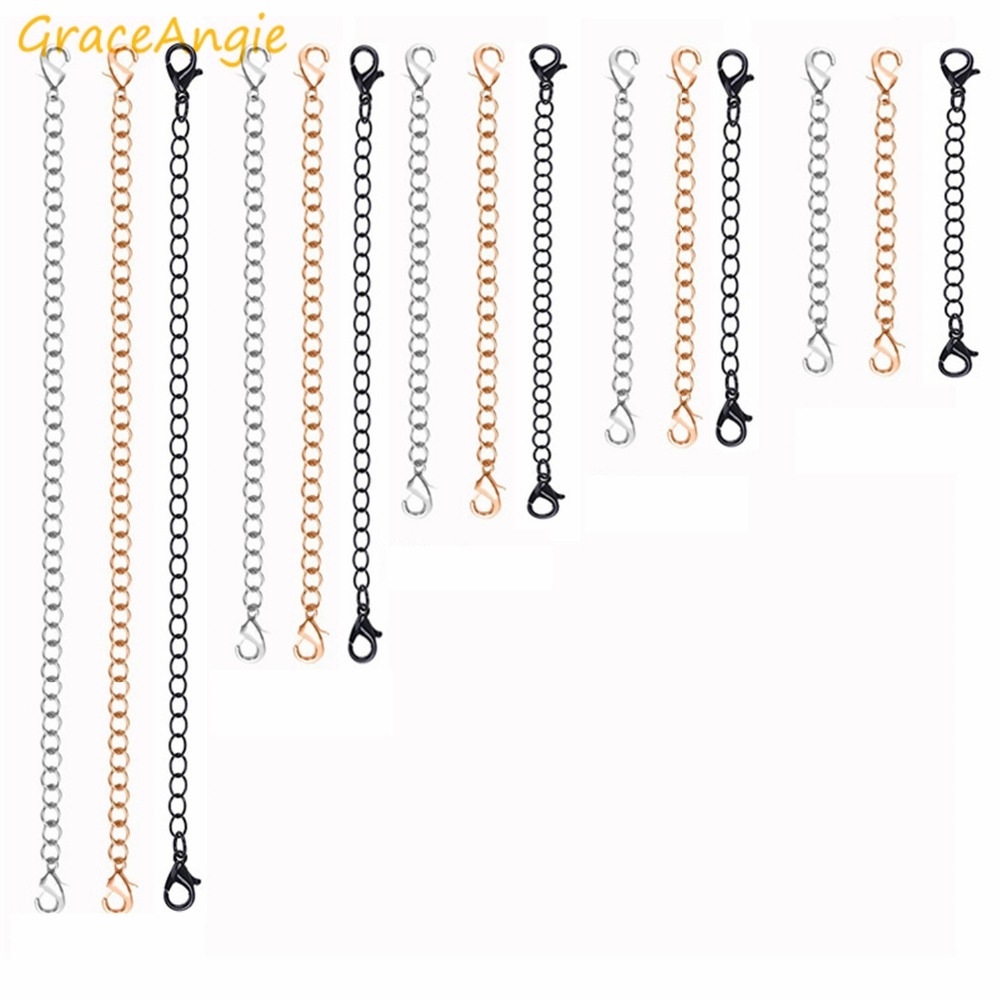 GraceAngie 5PCS Stainless Steel Extender Chains With Lobster Clasps Necklace Extension Chain For Diy Jewelry Accessories