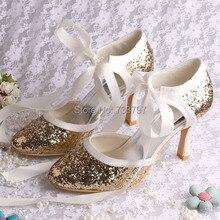 Новый Обувной Моды Партия Обуви Bling Bling Свадьбы Невеста Насосы Золотой Блеск Атласа Цвета Слоновой Кости