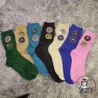 2016 High End Handmade Custom Women Socks Fashion Brand Diamond Flowers Bright Wire Nail Bead Drill