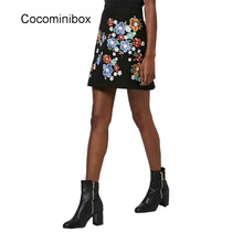 Women Elegant Floral Embroidery High Waist Casual A Line Pencil Lady Vintage Bodycon Short Skirt Black