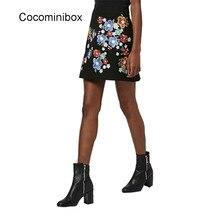 Women Elegant Floral Embroidery High Waist Casual A Line Pencil Lady Vintage Bodycon Short Skirt Black