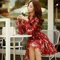 Original 2017 Brand Vestidos De Fiesta Spring Long Sleeve Plus Size Elastic Waist Vintage Casual Floral Women Dress Wholesale