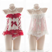 Lovely Girls Anime Maid Cosplay Lingerie Cute Cat Bow Chemise Off Shoulder Japanese Underwear sleeping dress lingerie nightgown
