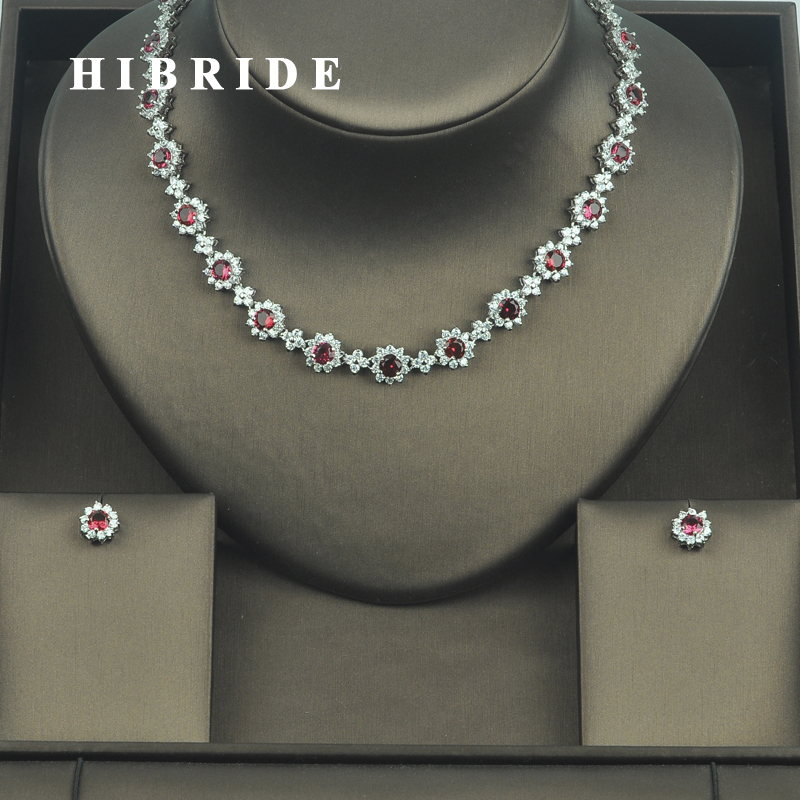 HIBRIDE Elegant Flower Red Cubic Zirconia Earring Necklace Jewelry Sets For Women Bridal Dress Accessories Set Gifts N-329 be8 luxury red water drop pendant jewelry set for women 5 colors bohemia necklace earring sets bridal dress accessories s 024