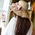 2015 Nueva Venta Al Por Mayor y Al Por Menor Moda Mujeres Flor Grande Verano Playa Sombrero de Sol Cap con la Decoración Del Arco 22
