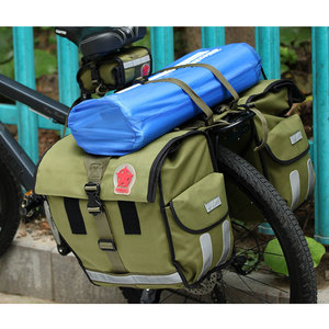 Image 5 - ROSWHEEL Retro Canvas Bicycle Carrier Bag 50L Rear Rack Trunk Bike Luggage Back Seat Pannier Cycling Storage Two Bags 14686