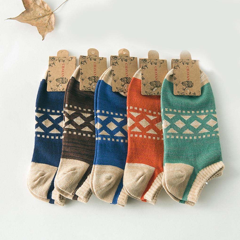 High Quality Pattern Print Striped Non-Slip Harajuku Short Cotton Breathable Meias Mens Socks