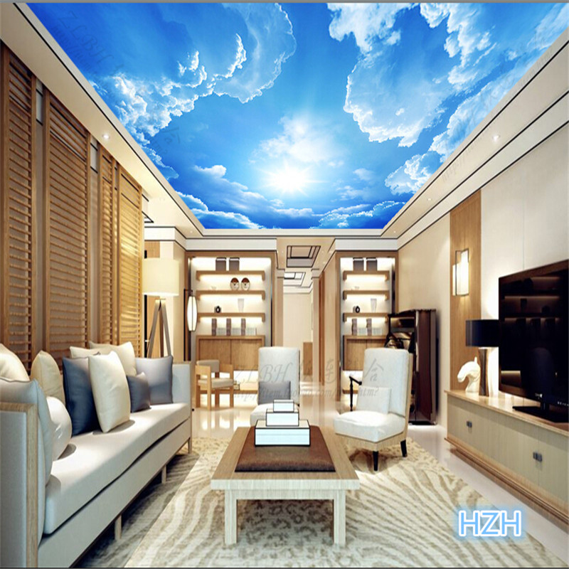 Beibehang photo wallpaper clouds sky blue and white wall for 3d ceiling paper