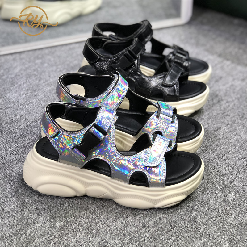 RY-RELAA wedges shoes for women 2018 fashion platform sandals Genuine Leather sandals summer shoes flat sandals Europe stationRY-RELAA wedges shoes for women 2018 fashion platform sandals Genuine Leather sandals summer shoes flat sandals Europe station