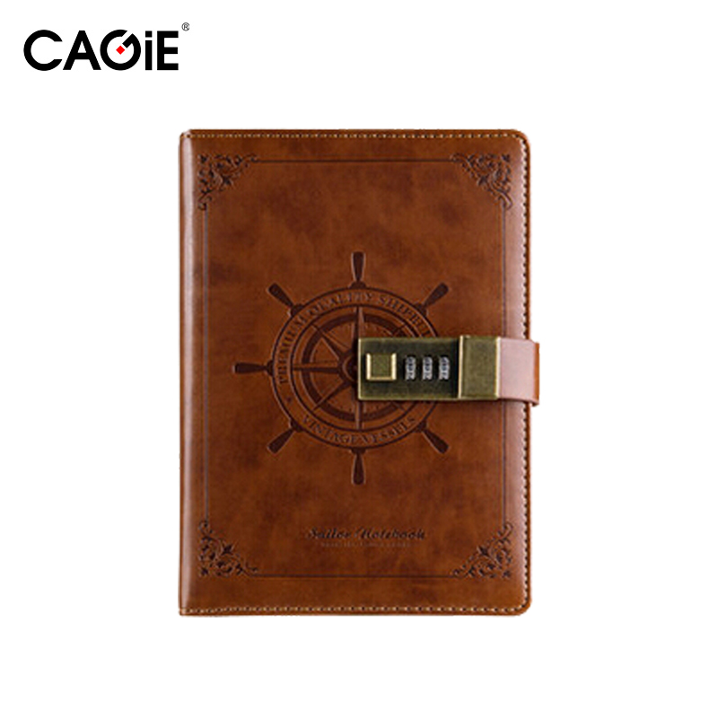 CAGIE Vinatge Leather Passcode Lock Notebook Diary with Lock Personal Diary Travelers Journal 224 Pages Thick Daily Planner diary with lock cagie cute diary cloth cover a7 mini notebook lined pages paper notebooks personal journal beautiful notepad