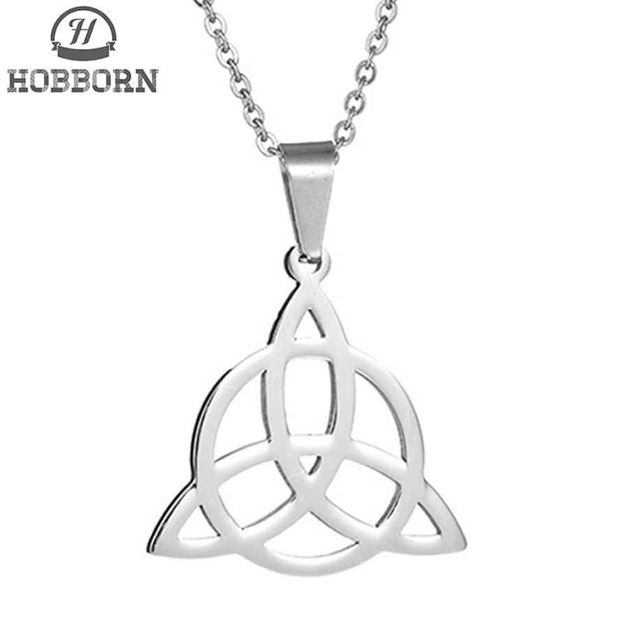 Viking węzeł wisiorek naszyjniki mężczyźni 316L wisiorki ze stali nierdzewnej irlandii Viking Triquetra Symbol naszyjnik Amulet urok biżuteria prezent