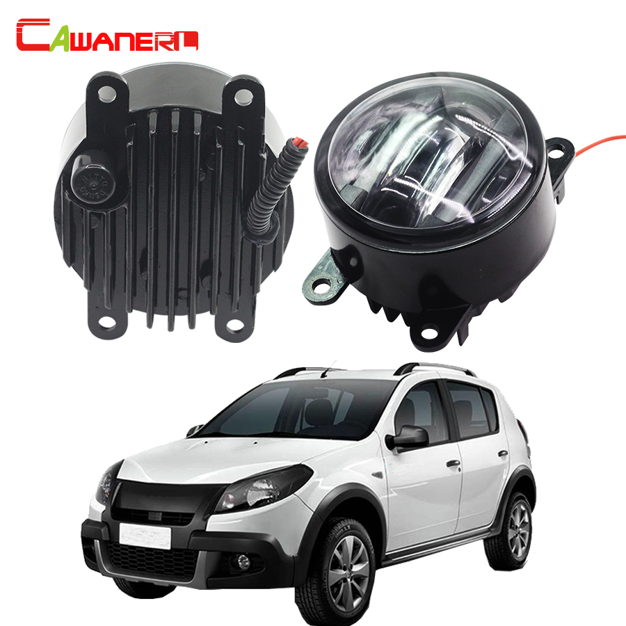 цена на Cawanerl 2 X Car LED Daytime Running Lamp DRL Right + Left Fog Light Styling For Renault Sandero Stepway Hatchback 2009-2015