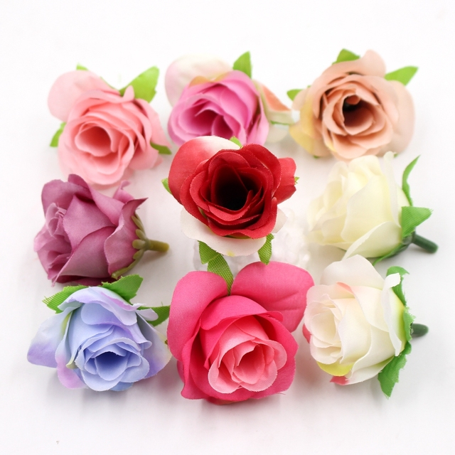 10pcs mini silk rose flower head artificial flower wedding home decoration DIY wreath Scrapbooking Craft fake flowers decoration