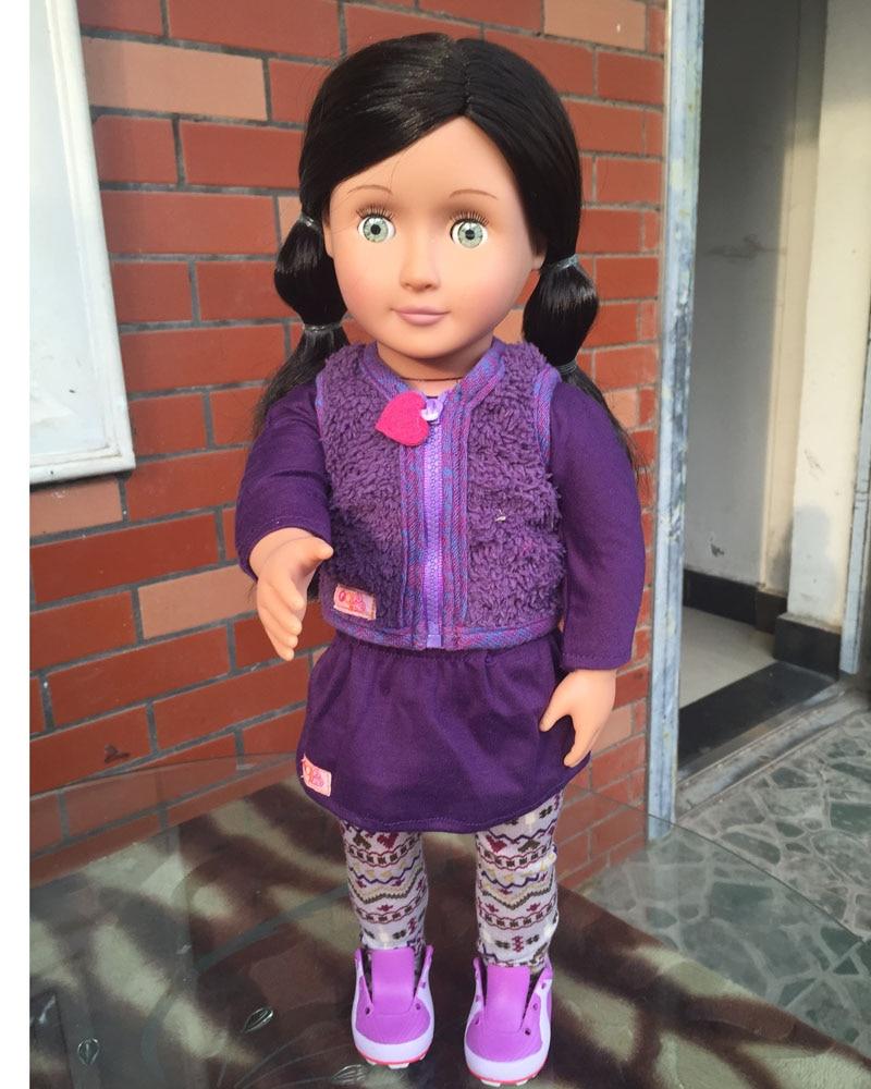 18 inch american girl doll OG Doll:Light Skin, Long Black Hair, Brown Eyes birthdaygift ,free shpping ADG13