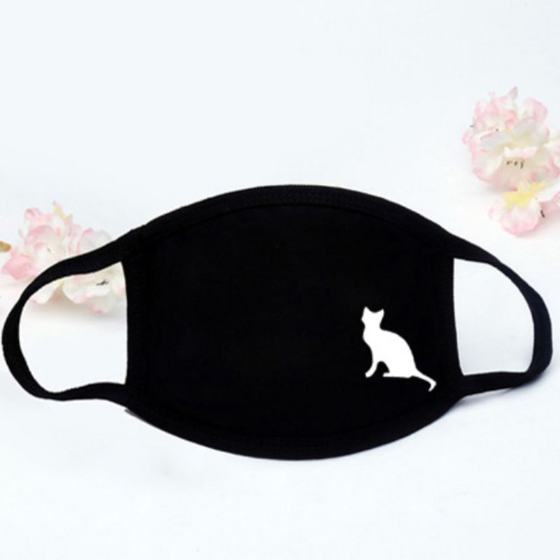 Unisex Winter Thicken Cotton Half Face Mouth Mask Black White Cute Cartoon Animal Printed Dustproof Cycling Muffle Respirator Wa