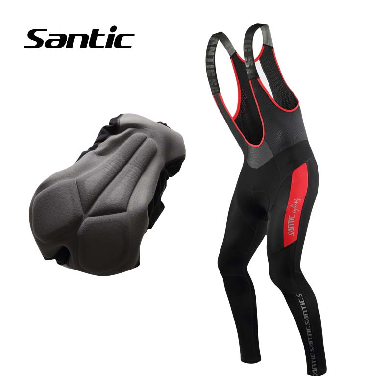 Santic Cycling Pants Men Winter Long 4D Padded Thermal Fleece Bib Pants Tights Warm MTB Mountain Bike Pants Bicycle Trousers rax 2015 thermal fleece hiking pants for men women winter outdoor sports warm fleece trousers fleece camping pants 54 4f089