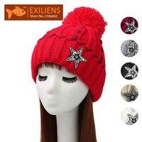 2017 Pom Pom Woolen Winter Hat Star Women S Beanies Plus Velvet Warm Knitted Bobble Hats