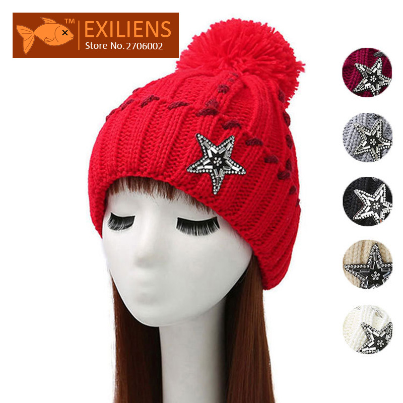 2017 Pom pom Woolen Winter Hat Star Women's Beanies Plus velvet Warm Knitted Bobble Hats Caps Hip Hop Skull Cap Bonnet Black hip hop beanie hat baggy unisex cap thick warm knitted hats for women men bonnet homme femme winter cap plus velvet beanies