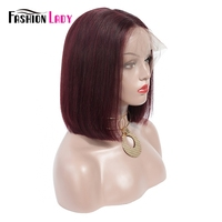 Fashion Lady Pre Colored Peruvian lace Front Wigs Straight Human Hair Bob Wigs With Baby Hair 99j Lace Front Wig Non Remy