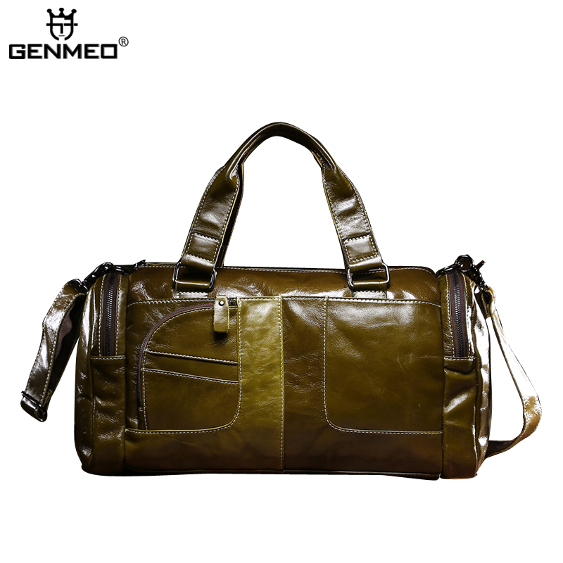 New Arrival Vintage Genuine Leather Baguette Handbags Men Cow Leather Shoulder Bag Green Retro Messenger Bag Business Tote Bags designer brand new arrival men s shoulder bag genuine casual cowhide leather handbags bussiness vintage retro men messenger bag
