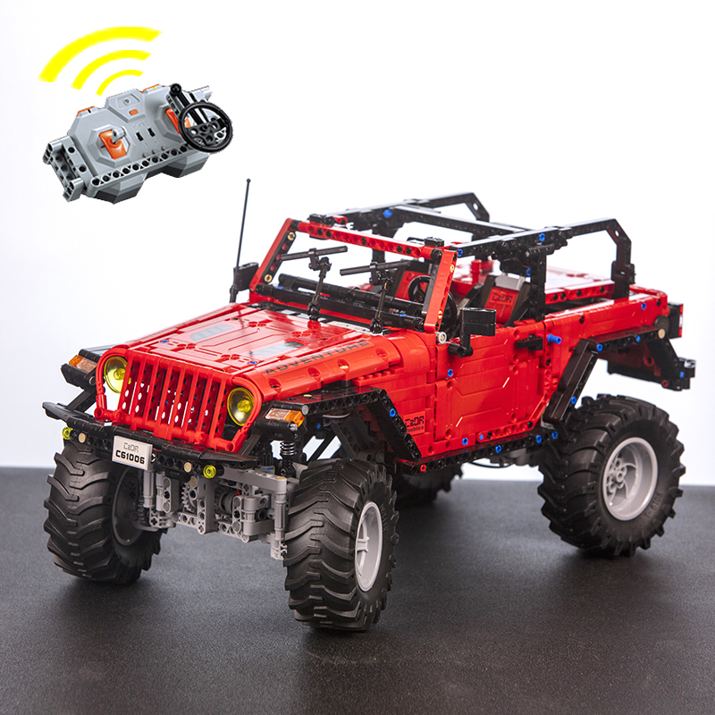 CaDA Remote Control Jeep Wrangler Adventurer Vehicle Off Road RC Cars 1941PCS with LED Lights Motor